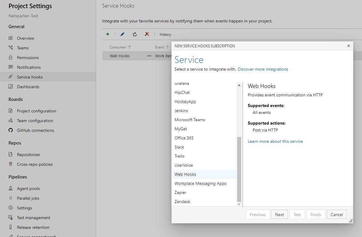 New Service Hooks Subscription in Azure DevOps