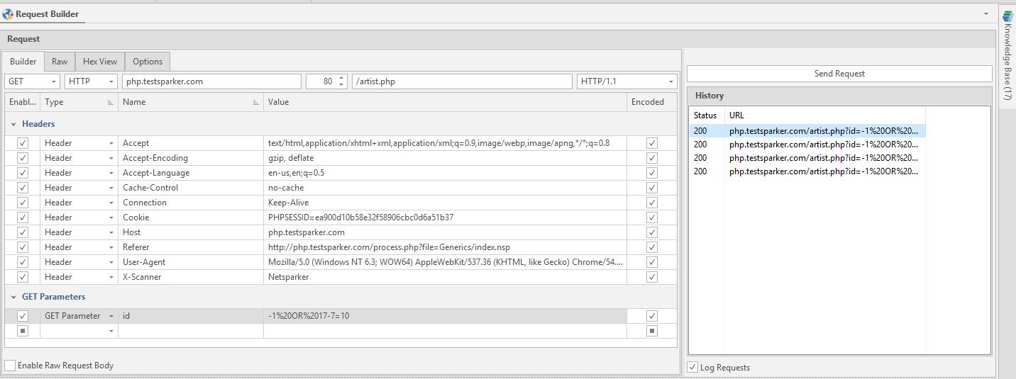 HTTP Request Builder in Netsparker