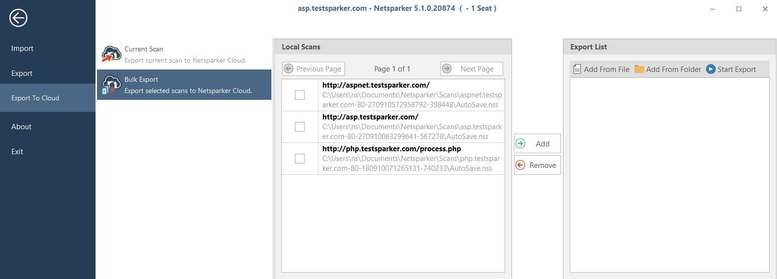 Bulk Export to Cloud Feature