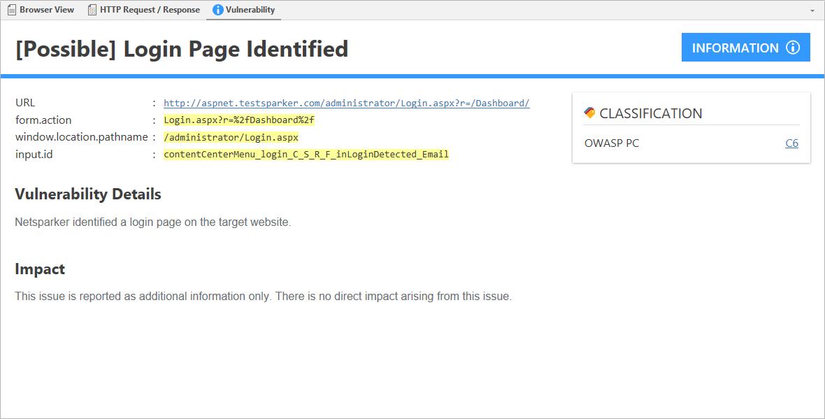 Login Page Identified
