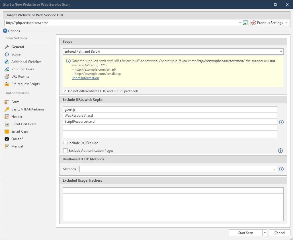 Scan Scope Settings in Netsparker Standard