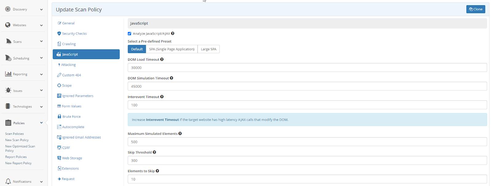 JavaScript Settings in Netsparker Enterprise