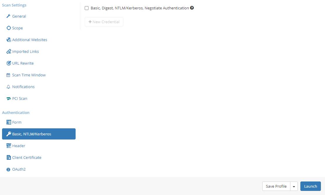 Basic, Digest, NTLM/Kerberos, Negotiate Authentication Screen