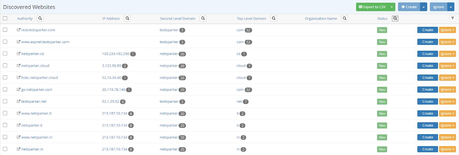 Discovered Websites in Netsparker Enterprise
