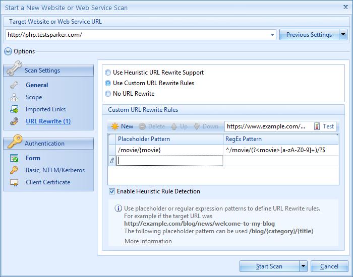 Configured URL rewrite rules in Netsparker Desktop