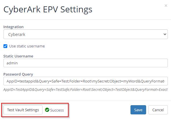 Configure CyberArk EPV Settings