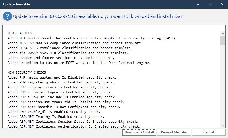 Netsparker Standard Update Confirmation Screen