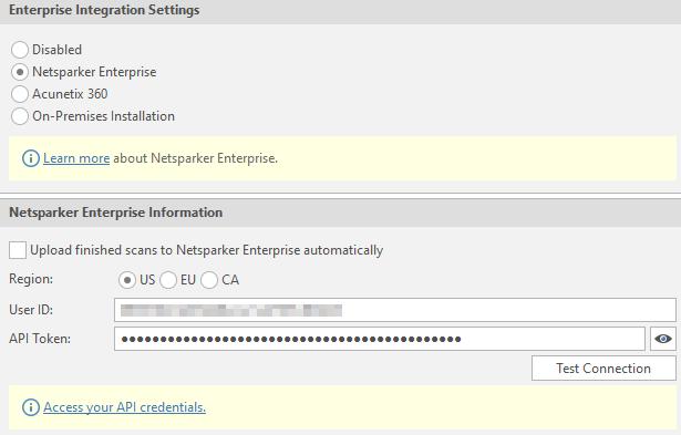 Logging In to Netsparker Enterprise Option