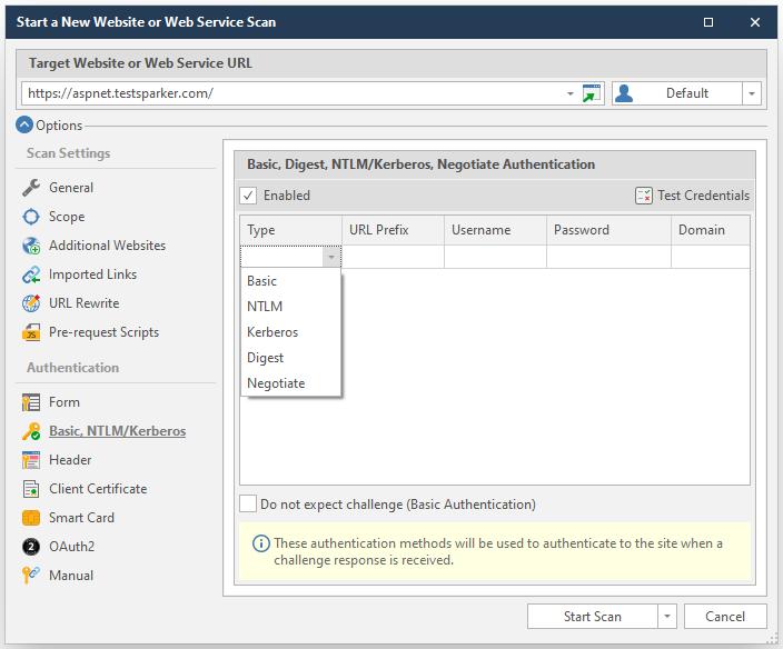 Netsparker Standard Basic, Kerberos Authentication Configuration Screen