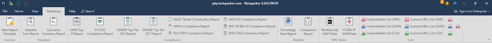 Netsparker Standard Reporting Ribbon