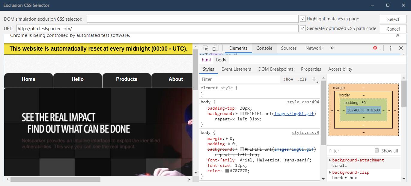Exclusion CSS Selector dialog