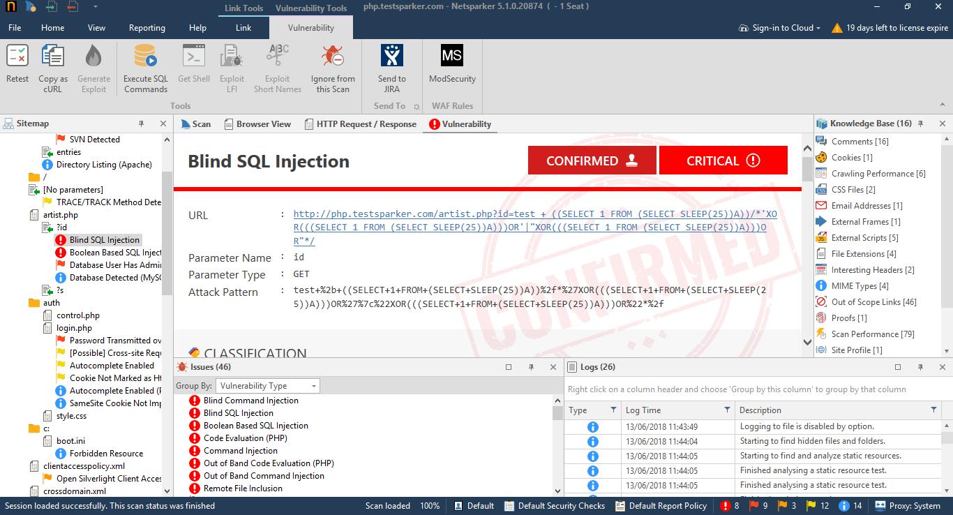 Retesting individual vulnerabilities in Netsparker