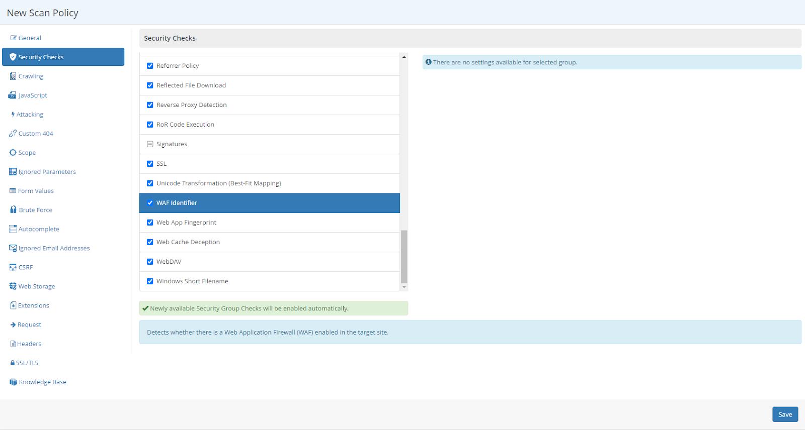 WAF Identifier Screen